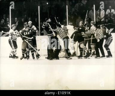 Mar. 03, 1970 - World Ice-hockey Championships In Sweden: Four players sent off during Soviet vs Sweden match. Four - Stock Photo
