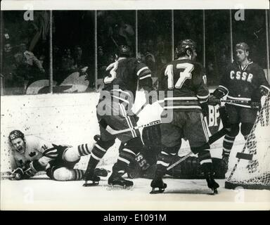 Mar. 03, 1970 - World Ice-Hockey Championships in Sweden. Four players sent off during Soviet Vs. Sweden Match.: - Stock Photo