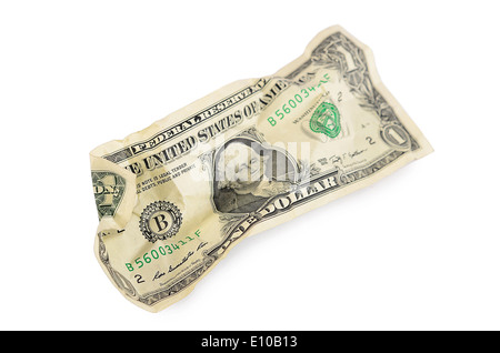 The crumpled dollar bills isolated on white - Stock Photo
