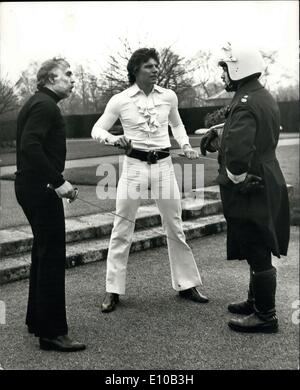 Feb. 29, 1972 - Duel in Regent?s Park ? Actor-singer Jess Conrad challenged actor Larry Taylor to a fencing duel - Stock Photo