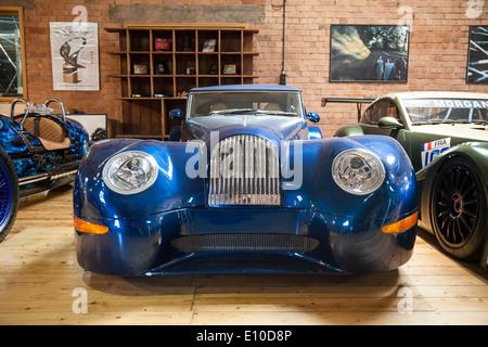 Morgan Aero Coupes Supersports at the Morgan Motors Car factory museum Malvern Worcestershire England UK - Stock Photo