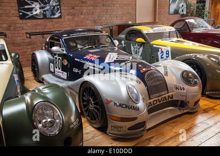 Morgan Aero SuperSport GT3s at the Morgan Motors Car factory museum Malvern Worcestershire England UK - Stock Photo