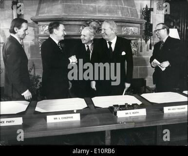 Dec. 12, 1973 - Council of Ireland Agreement.: Agreement on a Council of Ireland - with a core of seven Minister - Stock Photo
