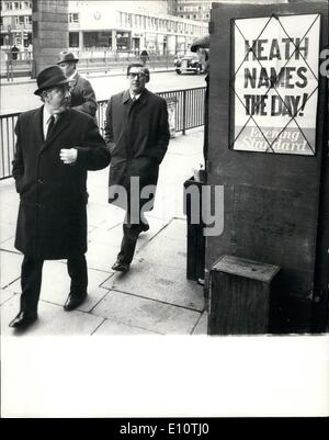 Feb. 02, 1974 - JOE GORMLEY AND MICHAEL McGAHEY TAKES THE HINT AS ''HEATH NAMES THE DAY''. Today Prime Minister - Stock Photo