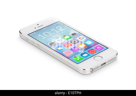 White modern smartphone with flat design application icons on the screen lies on the surface, isolated on white - Stock Photo