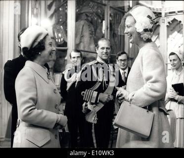 Apr. 30, 1974 - Queen Margrethe here on State Visit: Queen Margrethe of Denmark, accompanied by her husband Prince - Stock Photo