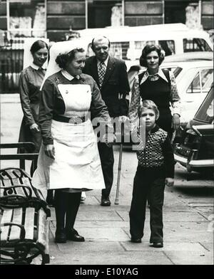 Oct. 10, 1974 - Six year old David who lost a leg in the tower of London bomb explosion leaves hospital today: Six - Stock Photo