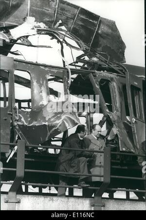 Mar. 03, 1976 - A Bomb Blasts An Empty Train Outside Cannon Street Station: A Bomb exploded on an empty train that - Stock Photo
