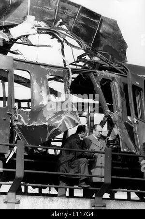 Mar 04, 1976; London, England, UK; A scene after a bomb had exploded in an empty train, sending eight passengers - Stock Photo