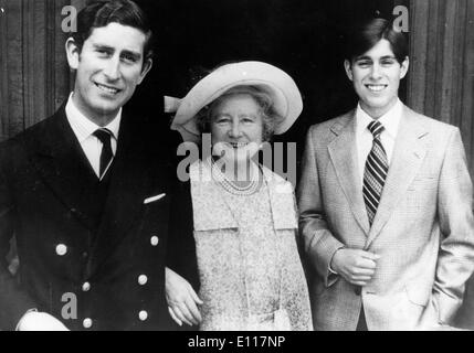 The Queen Mother Elizabeth Bowes-Lyon with grandsons - Stock Photo