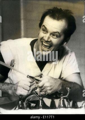 Mar. 30, 1976 - Jack Nicholson won the Oscar for best actor for his role in ''One Flew Over the Cuckoo's Nest.'' - Stock Photo