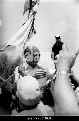 Jul 07, 1976; Tel Aviv, Israel; The 6th Prime Minister of Israel MENACHEM BEGIN celebrating after the return of - Stock Photo