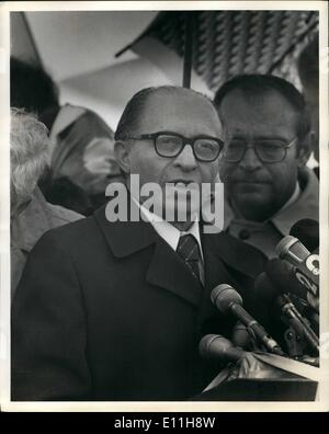 Jan. 01, 1978 - Prime Minister of Israel, Menachem Begin, pictured on arrival at JFK Airport. ne Pictures - Stock Photo