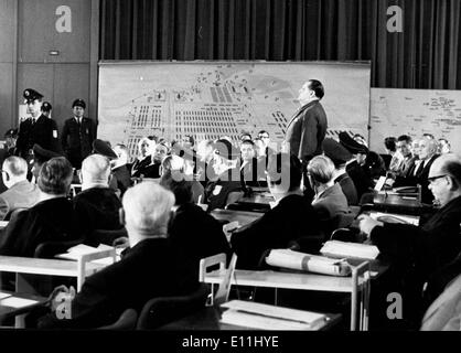 Apr 01, 1978; Frankfurt, GERMANY; Twenty-two former SS-men faced court in West German's biggest war crimes trial - Stock Photo