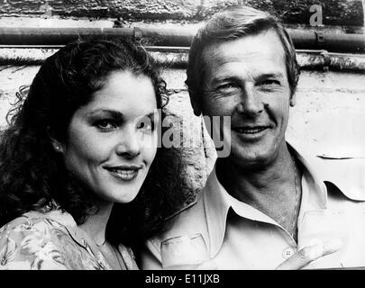 Actor Roger Moore with Lois Chiles - Stock Photo