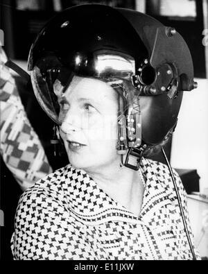 Margaret Thatcher in pilot helmet - Stock Photo