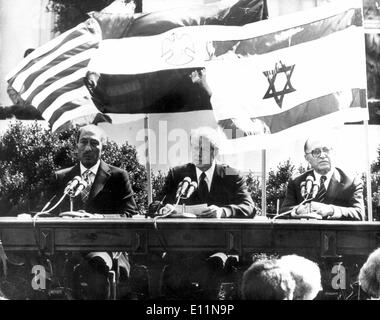 Egyptian President ANWAR AS SADAT, JIMMY CARTER and Israeli Prime Minister MENACHEM BEGIN - Stock Photo
