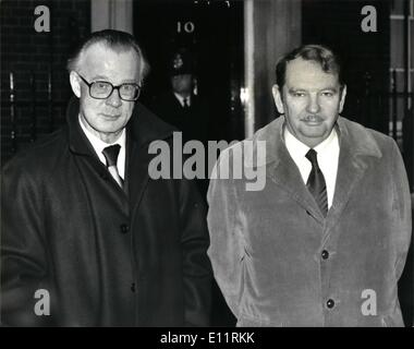 Jan. 01, 1980 - British steel chairman Sir Charles Villiers calls on Mrs Thatcher at No 10: Photo shows seen outside - Stock Photo