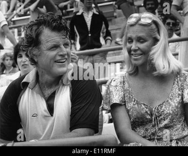 Jan. 01, 1980 - London, England, United Kingdom - File Photo: circa 1980s. TED KENNEDY and wife JOAN KENNEDY at - Stock Photo