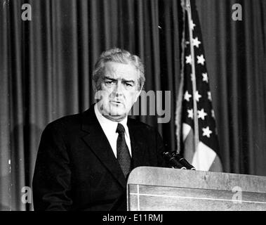 Jan. 01, 1980 - File Photo: circa 1970s-1980s, location unknown. JOHN B. CONNALLY at a podium with an American flag - Stock Photo