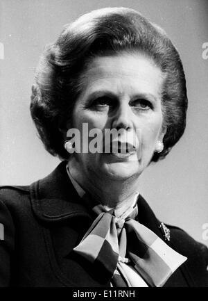 Prime Minister Margaret Thatcher speaking - Stock Photo