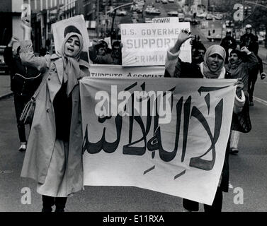 Oct 27, 1979; New York, NY, USA; Pro Khonmeni Iranians demonstrate against the Shah. They were protesting that the - Stock Photo