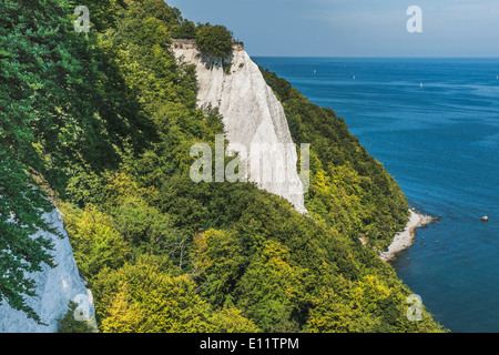 118 meter high chalk cliffs Koenigsstuhl (King's Chair), Ruegen Island, Mecklenburg-Western Pomerania, Germany, - Stock Photo