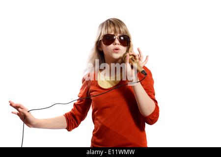 girl sings - Stock Photo