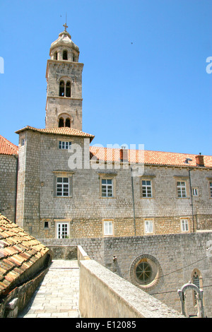 View from the city walls with the church bell tower in the background, Old town, Dubrovnik, Croatia. - Stock Photo