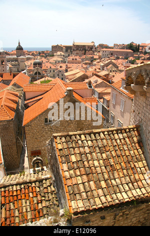 Looking down on to roof tops in the old town, Dubrovnik, Croatia. - Stock Photo