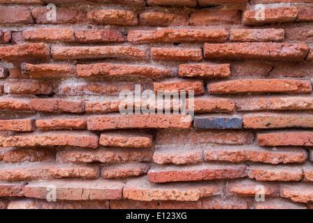 old red brick wall texture background at Ayuttaya Thailand - Stock Photo