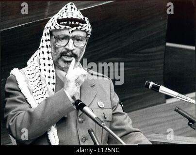 Dec. 12, 1988 - Yasser Arafat in Geneva: After the United States denied the Visa for Yasser Arafat, chairman of - Stock Photo