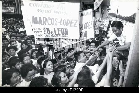 Dec. 16, 2011 - Philippine President Ferdinand Marcos campaigning 1969 in his bid for a second 4-yr. term. - Stock Photo