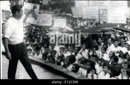 Dec. 16, 2011 - Philippine President Ferdinand Marcos campaigning 1969 in a bid for a second term. ne Pic - Stock Photo