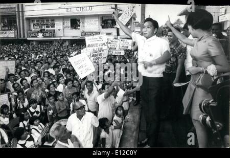 Dec. 16, 2011 - Philippine President Ferdinand Marcos campaigning 1969 in a bid for a second term. - Stock Photo