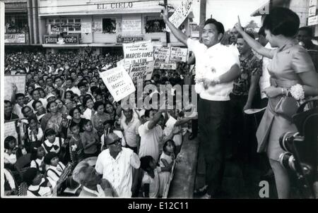 Dec. 16, 2011 - President Ferdinand E. Marcos and Mrs. Imelda Marcos, right, greet jubilant victory crowds after - Stock Photo