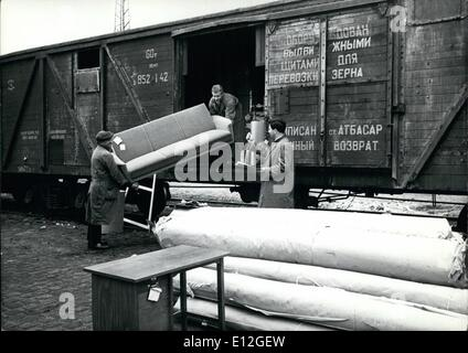 Jan. 10, 2012 - Russian goods vans in the Federal Republic of Germany. On April 1st and 2nd in Bonn, Soviet railroad - Stock Photo