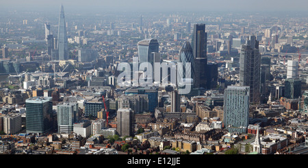 Aerial view of the London Skyline including the City of London and the Shard, London, UK - Stock Photo