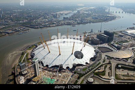aerial view of the O2 arena (formerly The Millennium Dome) in Greenwich, London, UK, with London City Airport in - Stock Photo