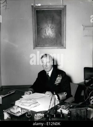 Feb. 24, 2012 - Photo Shows Admiral Earl Mountbatten of Burma, pictured at his desk in his room at the Admiralty - Stock Photo