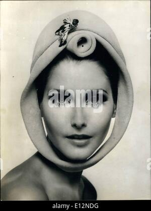 Feb. 24, 2012 - Hats Fashion Fall and Winter 1966-1967. OPS: Original hat of Marie-Christiane, with a twirled felt - Stock Photo