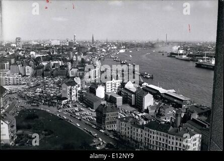 Feb. 24, 2012 - Pictured is an aerial view of the port of Hamburg from the Palmaille high-rise(22nd story). A flea - Stock Photo