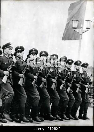 Feb. 25, 2012 - 1st May Celebrations in East Berlin. It doesn't any matter, if civilian or army, parole says: marching, - Stock Photo