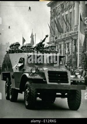 Feb. 25, 2012 - May in East Berlin. Occasionally the first parade of the so called Volksarmee on May 1st celebrations - Stock Photo