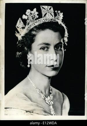 Feb. 26, 2012 - Command Portrait of Her Majesty Queen Elizabeth II. First since accession to the throne. First formal - Stock Photo