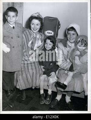 Feb. 25, 2012 - N.Y. International Airport, Nov. 25 --- America's little darling of yesteryear, Shirley Temple, - Stock Photo