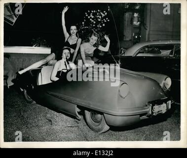 Feb. 26, 2012 - Introducing The ''All-Plastic'' Car. International Motor Show In New York: Three charming young - Stock Photo