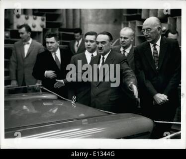 Feb. 26, 2012 - These two photographs show Mikoyan and Andrew A. Kucher, vice president-engineering, Ford Motor - Stock Photo
