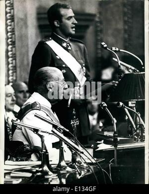 Feb. 28, 2012 - Prince Juan Carlos Takes The Oath of Allegiance In The Spanish Parliament Don Juan Carlos, 31, newly - Stock Photo
