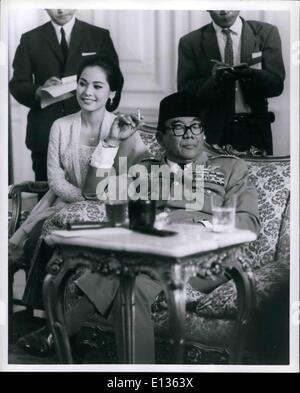 Feb. 28, 2012 - President SUKARNO of Indonesia with his last wife DEVI at a press conference at Merdeka Palace in - Stock Photo